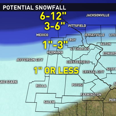 Potential snowfall by midnight Sunday