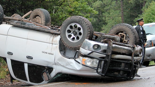 Otero County Sheriff's Office deputies and New Mexico State Police officers responded to a single vehicle rollover accident on U.S. Highway 82 near Cloudcroft Friday afternoon.