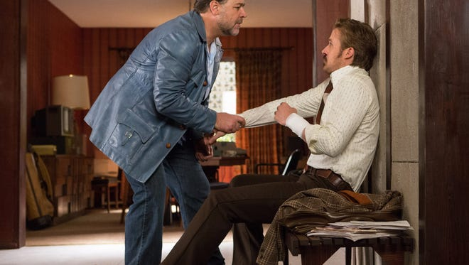 """Russell Crowe (left) and Ryan Gosling find corruption and other unpleasantness in 1970s Los Angeles in the action/buddy comedy """"The Nice Guys."""""""