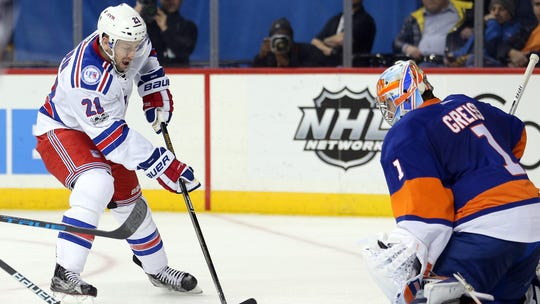 Rangers center Derek Stepan drives to the net against