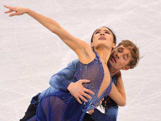 Ice dancers Madison Chock and Evan Bates of the USA