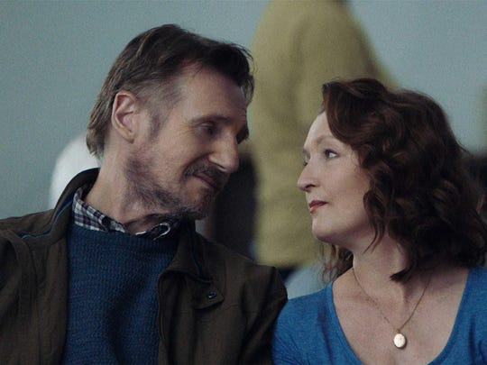 "Liam Neeson, left, and Lesley Manville in a scene from ""Ordinary Love."""