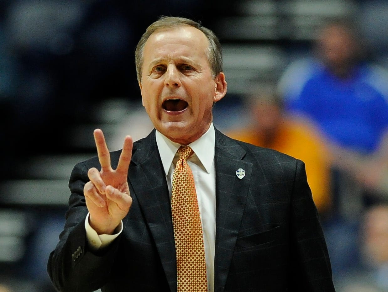 Tennessee head coach Rick Barnes directs a play in the first of the game against Georgia in the 2017 SEC Men's Basketball Tournament at Bridgestone Arena Thursday, March 9, 2017 in Nashville, Tenn.