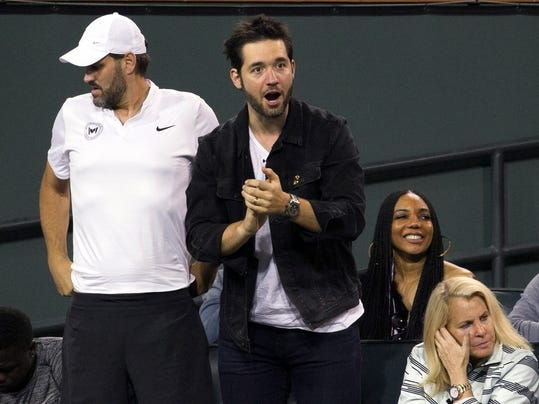 Serena Williams' husband, Alexis Ohanian, watches Williams play Zarina Diyas, of Kazakhstan, during the first round of the BNP Paribas Open tennis tournament in Indian Wells, Calif., Thursday, March 8, 2018. (AP Photo/Crystal Chatham)