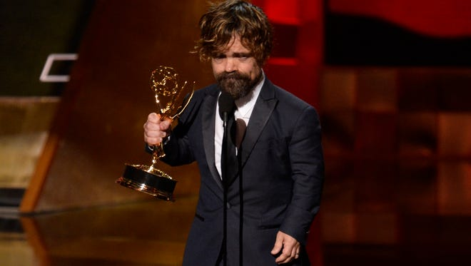 "Peter Dinklage on a supporting actor honor for ""Game of Thrones,"" one of four won by the HBO drama."