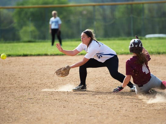 McConnellsburg's Madison Koontz catches a the ball