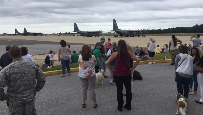 Family and friends say goodbye to members of the Delaware Air National leaving for Southwest Asia Wednesday morning.