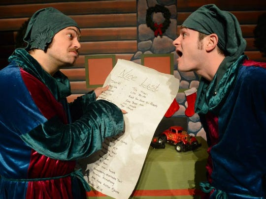 "Jay Terry and Justin Hooper perform as Santa's elves in ""Laughing All The Way VI"" at Pioneer Place Fifth"