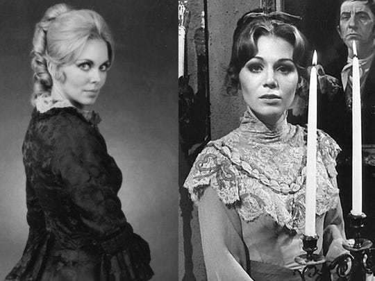 Lara Parker, left, as Angelique and Kathryn Leigh Scott as Josette from Dark Shadows - publicity photos