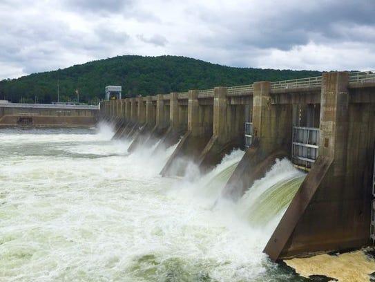 Water is being spilled at Guntersville Dam near Huntsville,