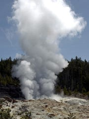 Steamboat Geyser in Yellowstone National Park is seen erupting in this 2003 photo.