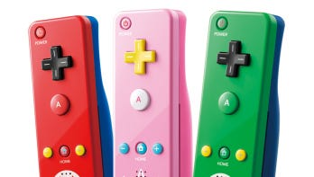 The Mario and Luigi-themed Wii Remote controllers will be joined by a pink Princess Peach one later this month.