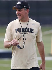 Defensive coordinator/safeties coach Ross Els watches as players run a drill during football practice Thursday, August 4, 2016, at the Bimel Practice Complex on the campus of Purdue University.