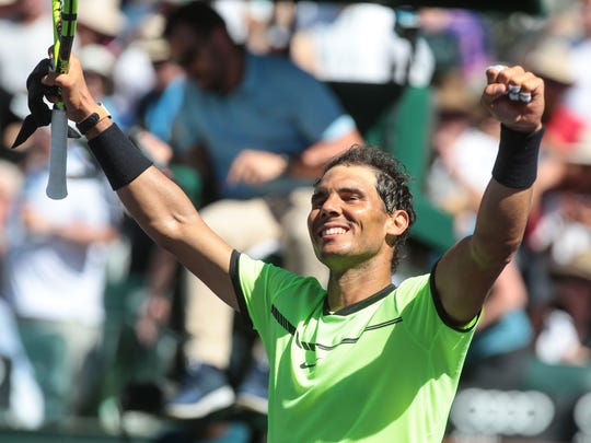 Rafael Nadal advances in the BNP Paribas Open after beating fellow Spaniard Fernando Verdasco 6-3, 7-5 in the men's 3rd round on Tuesday, March 14, 2017 in Indian Wells, CA.