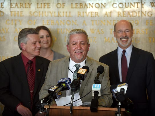 Governor Tom Wolf traveled to Lebanon April 18 to thank