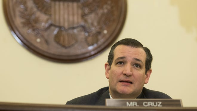 Texas Republican Sen. Ted Cruz, chairman of the Commerce, Science and Transportation Subcommittee on Space, Science and Competiveness, speaks during a hearing on space exploration on Capitol Hill on Feb. 24, 2015.