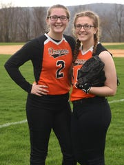 Chelsea and Dani Yeno, two sisters who are both on Dover's softball team.