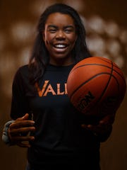Zoe Young of Valley has been named to the Des Moines Register's All-CIML Elite girls basketball team. Here she poses for a portrait in the studio on Wednesday, Feb. 21, 2018, in Des Moines.
