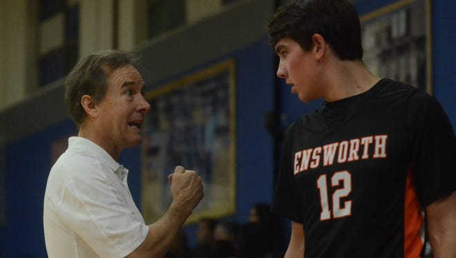Ensworth coach Ricky Bowers talks to Jack Zager during the first half of Friday's game at M.L. King.