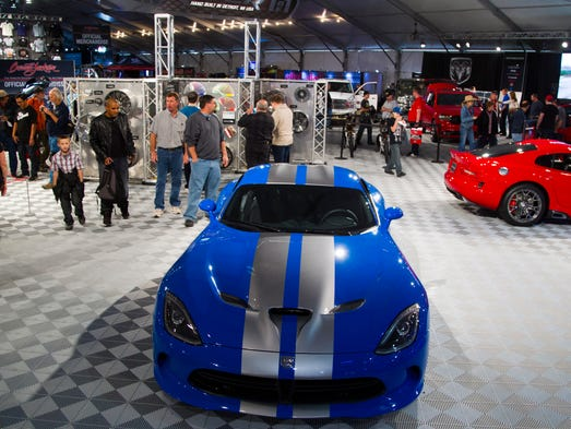 A 2015 Dodge Viper GT sits for show in the Dodge section