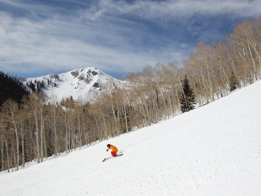 A skier in Jupiter Bowl – one of 14 bowls at the new