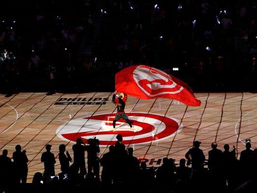 Atlanta Hawks mascot Harry waves a flag before Game