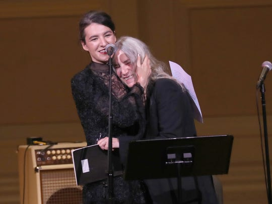 Jesse Paris Smith and Patti Smith speak on stage during Pathway To Paris Concert For Climate Action at Carnegie Hall on November 5, 2017 in New York City.