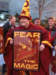 Iowa State senior Calvin Carlson wears his Hilton Magic attire while waiting in line on Saturday at Hilton Coliseum in Ames, Iowa. Carlson, from Jewell, was one of thousands of Iowa State fans that showed up to be part of ESPN's College Gameday broadcast.