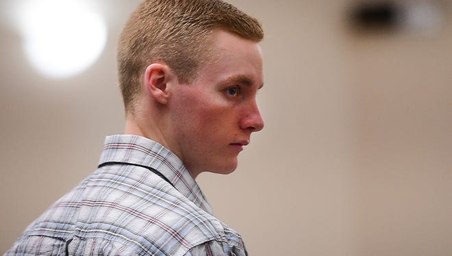 Tanner Flores stands in the courtroom after witness testimonies at the Larimer County Justice Center on Monday, October 2, 2017. Flores is on trial for the murder of his ex-girlfriend, 18-year-old Ashley Doolittle, in June 2016.