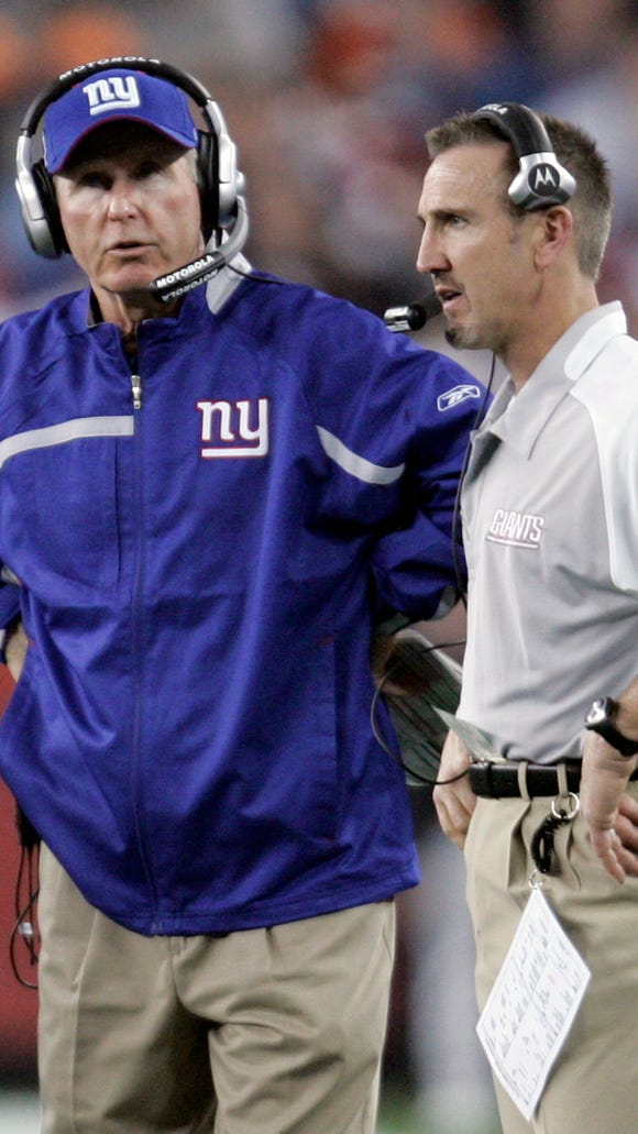 Former Giants coach Tom Coughlin, left, has a career record of 170-150 in 20 seasons as a head coach, the last 12 with the Giants.