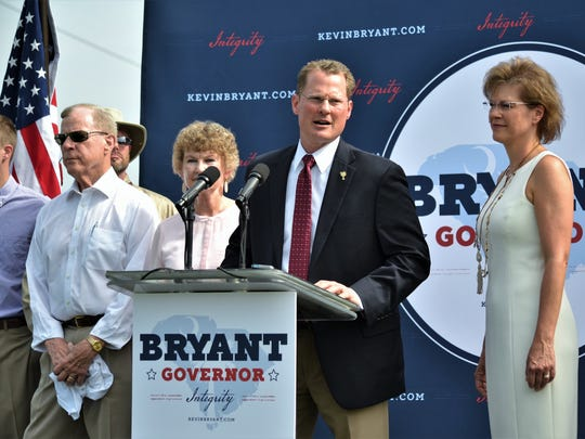 With his family by his side, Lt. Gov. Kevin Bryant announces his intent to run for S.C. governor on Friday morning at the Cromer Food Services compound in Anderson.