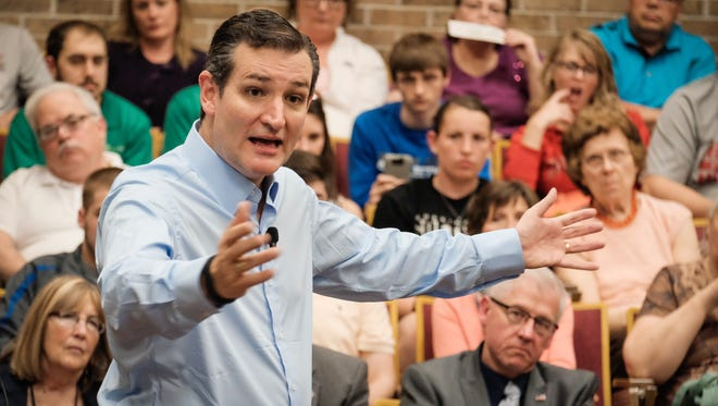 Sen. Ted Cruz, R-Texas, addresses voters during a town hall meeting at the Lincoln Center on the campus of Morningside College on April 1, 2015, in Sioux City, Iowa.
