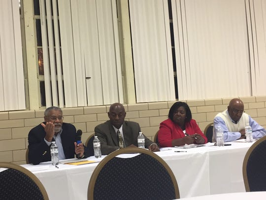 Eddie Boyd, former Wicomico County, Md., school board member, speaks as other panel members listen during a public forum on Monday, Oct. 30 in Accomac, Va. The forum's topic was an upcoming referendum on the school board selection method in Accomack County.