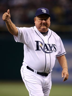 Don Zimmer of the Tampa Bay Rays throws out the first pitch at the beginning of game seven of the American League Championship Series in Oct. 2008.