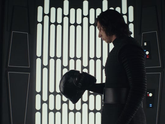 Kylo Ren (Adam Driver) in a moment of reflection during
