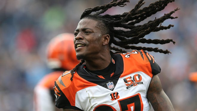 Cincinnati Bengals cornerback Dre Kirkpatrick (27) reacts after a turnover in the fourth quarter during the Week 10 NFL game between the Cincinnati Bengals and the Tennessee Titans, Sunday, Nov. 12, 2017, at Nissan Stadium in Nashville, Tennessee.