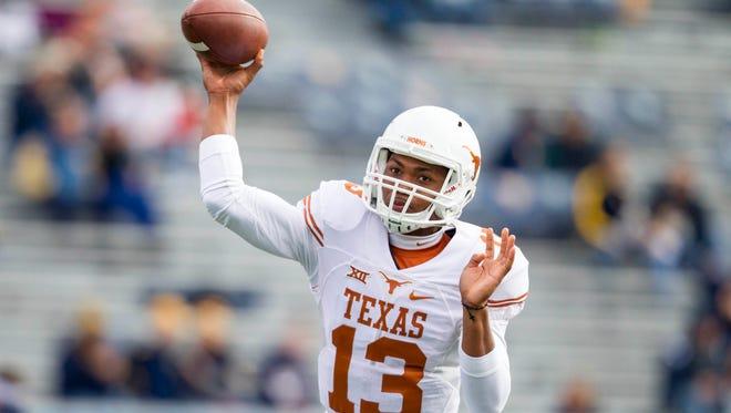 Texas Longhorns quarterback Jerrod Heard left the game against Texas Tech with a head injury.