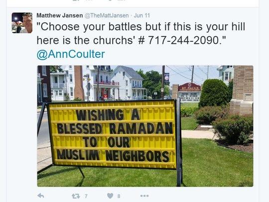 A tweet by Spring Grove School Board member Matthew