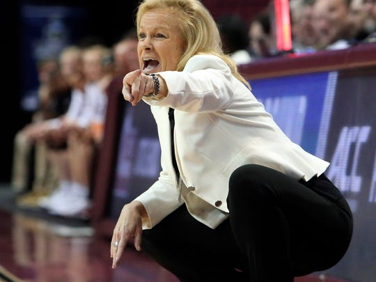 Florida State's head coach Sue Semrau shouts instructions to her team as they play against Arkansas Little Rock in a first-round game in the NCAA women's college basketball tournament, Saturday, March 17, 2018, in Tallahassee, Fla. Florida State won 91-49. (AP Photo/Steve Cannon)