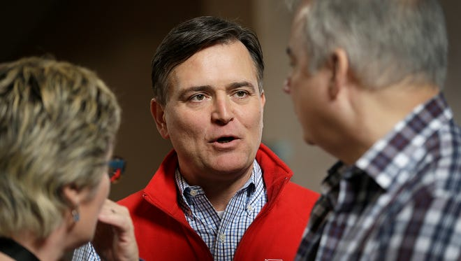 Congressman Luke Messer talks with some of his supporters at the Indiana Republican Party's Congress of Counties U.S. Senate Straw Poll event at the Union Station Grand Hall Saturday, Jan 13, 2018.