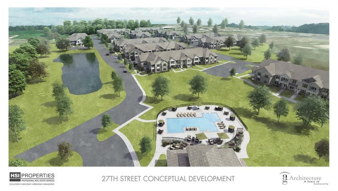 HSI Properties, LLC has proposed a new townhome-style multifamily development along the 27th Street corridor. The development includes 12 buildings, a clubhouse, pool, and more.