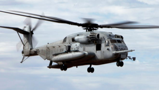 A CH-53E Super Stallion cargo helicopter is shown in this Department of Defense file photo.