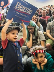 Maddox Holtke, 5, of Pottsville, holds up his Bernie
