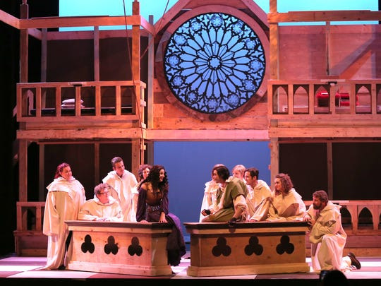 The cast of the Renaissance Theatre production of The Hunchback of Notre Dame rehearse a scene from the play.