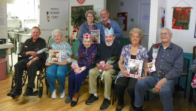 Baxter Retirement Village had their 3rd annual Valentines King and Queen event. Voted on by all residents and employees. The 2016 king and queen and there court are, back row, from left, Lourde and Betty Pflub. front, James and Betty Baser, Queen Mary Carberry, King Duane Farris. Marvin and Irene Hogen.