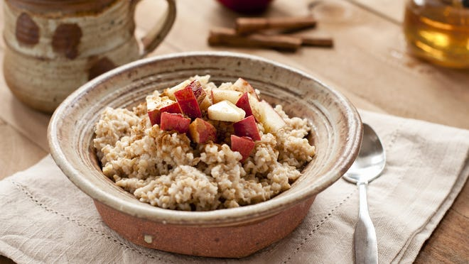 Oats are not only a good source of total fiber, but contain both soluble and insoluble forms.  These provide a feeling of fullness at a meal, which can assist with better control over calorie intake.