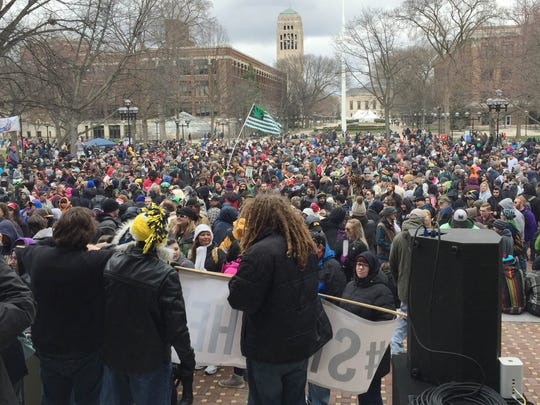 A crowd of several thousand attended the opening address for Hash Bash 2016 on the Diag at the University of Michigan's central campus in Ann Arbor on Saturday, April 2, 2016.