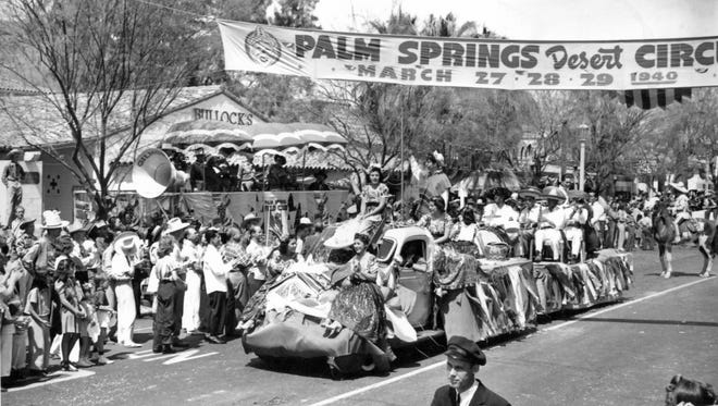 Victoria Ortega, Dorothy Prieto. Anita Ayala, and Rita Fontes on the  Mexican Colony Club float entry in Desert Circus parade c.1940.