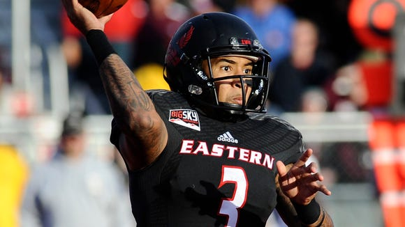 Nov 8, 2014; Cheney, WA, USA; Eastern Washington Eagles quarterback Vernon Adams Jr. (3) throws a pass against the Montana Grizzlies during the second half at Roos Field. Eastern Washington won 36-26. Mandatory Credit: James Snook-USA TODAY Sports