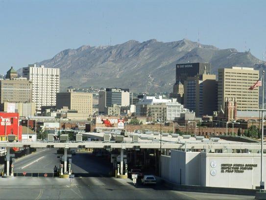 The El Paso skyline as seen from the Santa Fe bridge